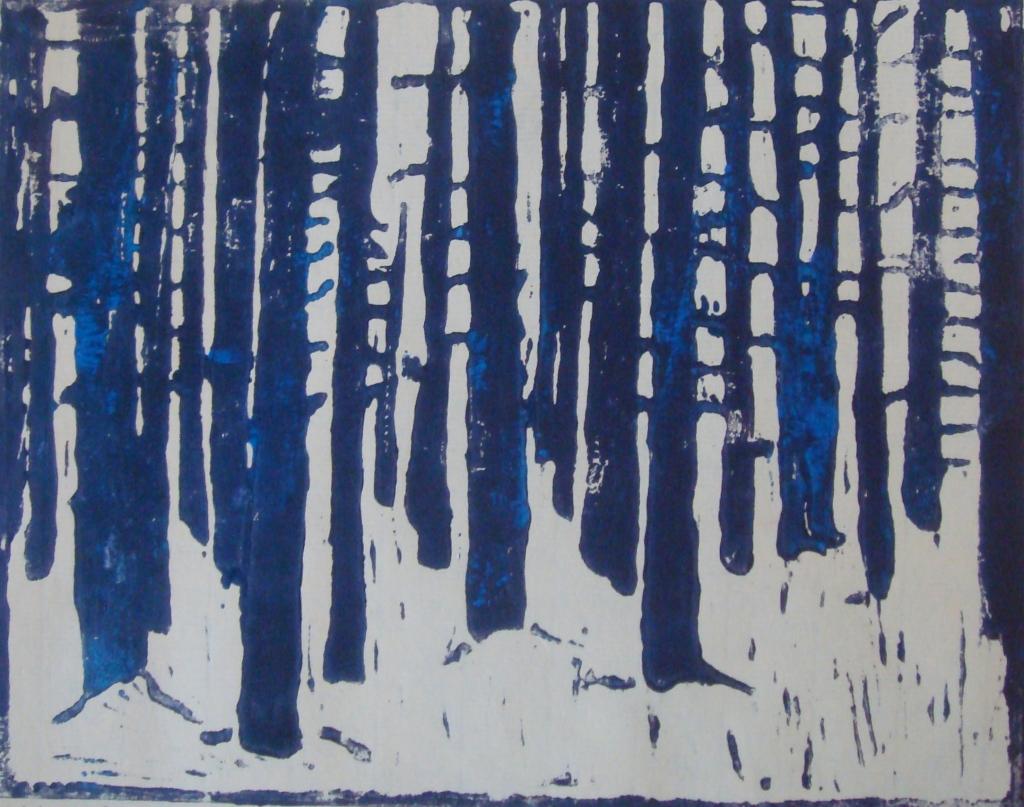 February Forest, Russell Steven Powell artist's proof, linoleum print, 9x6