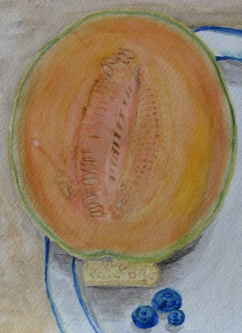 Still Life with Cantaloupe (detail). Russell Steven Powell watercolor, 11x15