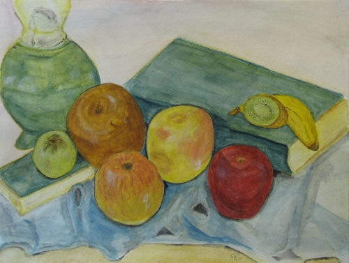 Still Life with Apples, Russell Steven Powell watercolor, 15x11