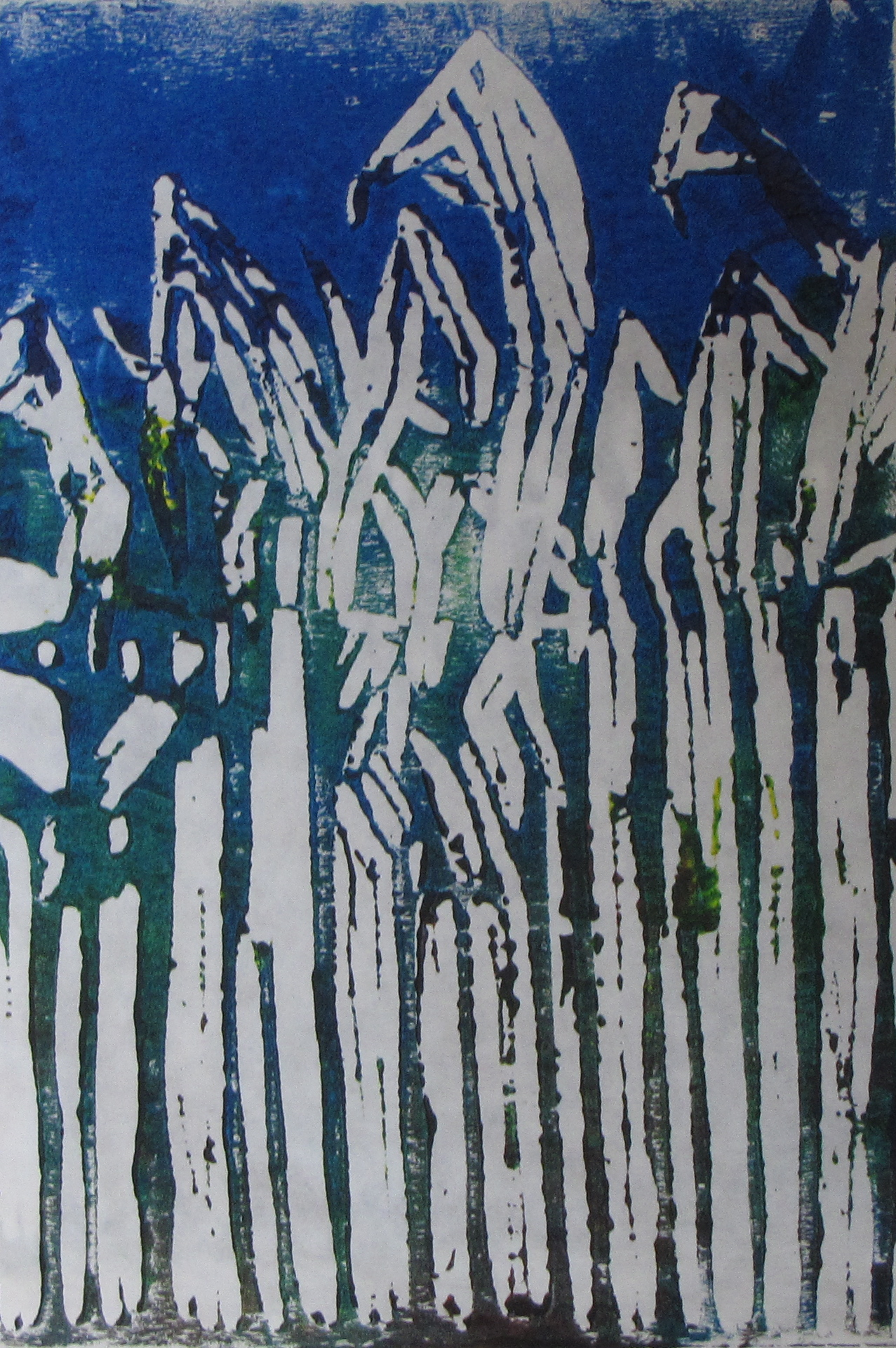 Twilight Corn, artist's proof, Russell Steven Powell linoprint, 6x9