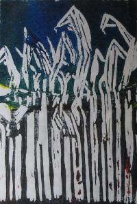 Twilight Corn, 1 of 1, Russell Steven Powell linoprint, 6x9