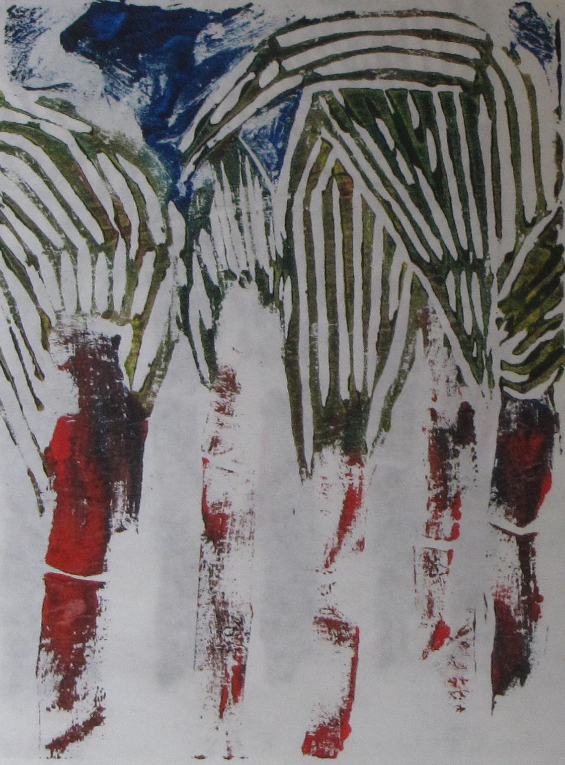 Ghost Corn, 1 of 3, Russell Steven Powell linoprint, 6x8
