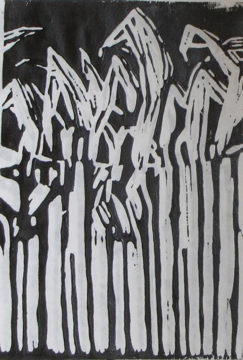 Midnight Corn, artist's proof, Russell Steven Powell linoprint, 6x9