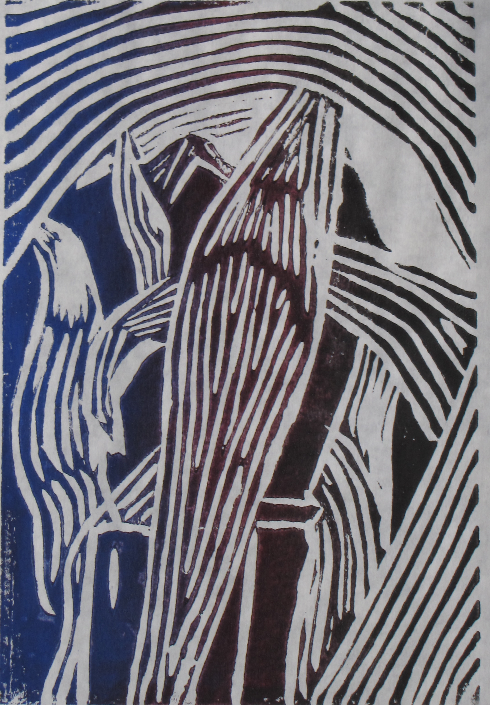 Midnight Corn, 2 of 6, Russell Steven Powell linoprint, 6x9