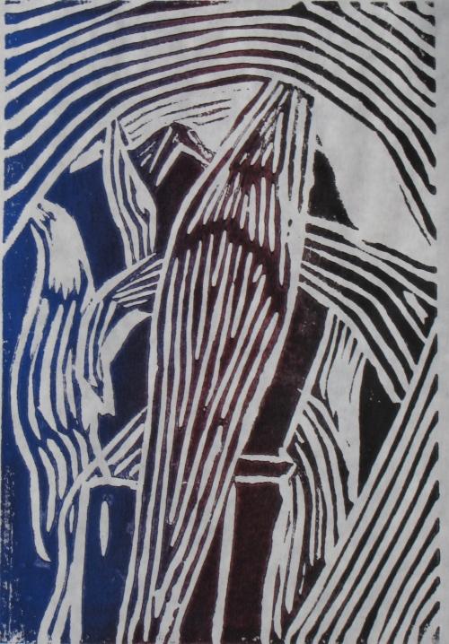 Midnight Corn, 2 of 6, Russell Steven Powell linoprint, 6x9