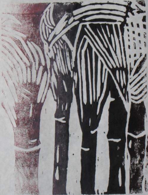 Midnight Corn, 1 of 4, Russell Steven Powell linoprint, 6x9
