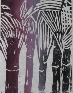 Midnight Corn, 2 of 3, Russell Steven Powell linoprint, 6x9