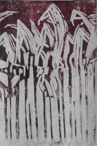 Midnight Corn, 1 of 1, Russell Steven Powell linoprint, 6x9