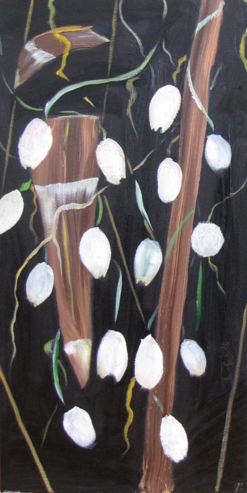 Hanging Pods, Russell Steven Powell oil on canvas, 12x24