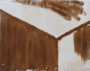 Baler '64, Russell Steven Powell oil on canvas with brick flakes, 20x16