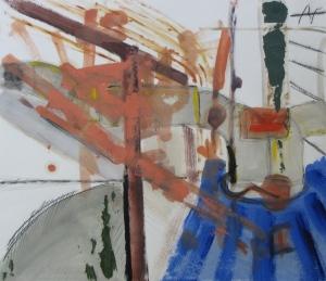 Warehouse Loft, Russell Steven Powell mixed media on paper, 16x14