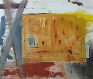 Warehouse Shed, Russell Steven Powell mixed media on paper, 16x14