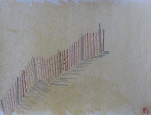 "Drift Fence, Dunes, Russell Steven Powell watercolor, 14""x17"