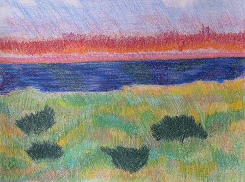 "Sunset, Dunes, colored pencil, 14""x17"""