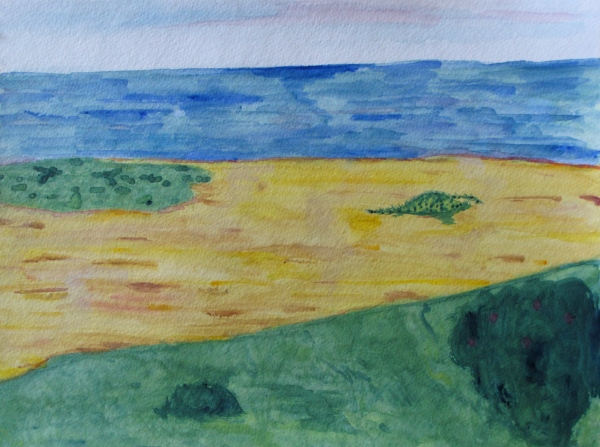 "View from Euphoria, Provincetown Dunes, watercolor, 11""x15"""