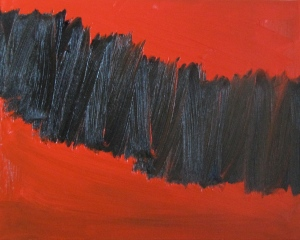 Black on Red, Russell Steven Powell oil on canvas, 20x16