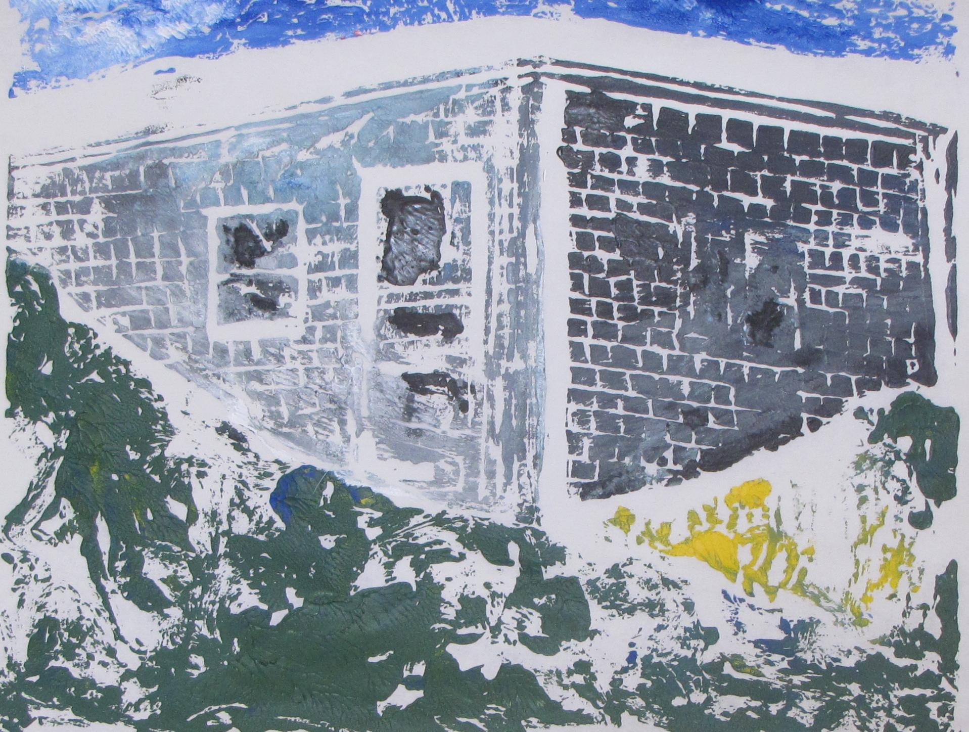 "Euphoria, June, 6 a.m., Russell Steven Powell acrylic on paper linoprint, 10""x8"""