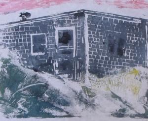 "Euphoria, June, 6 p.m., Russell Steven Powell acrylic on paper linoprint, 10""x8"""