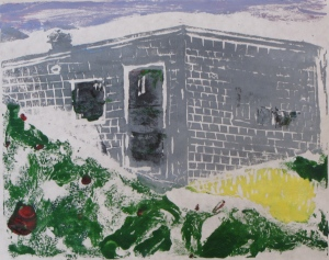 "Euphoria, June, 7 a.m., Russell Steven Powell acrylic on paper linoprint, 10""x8"""