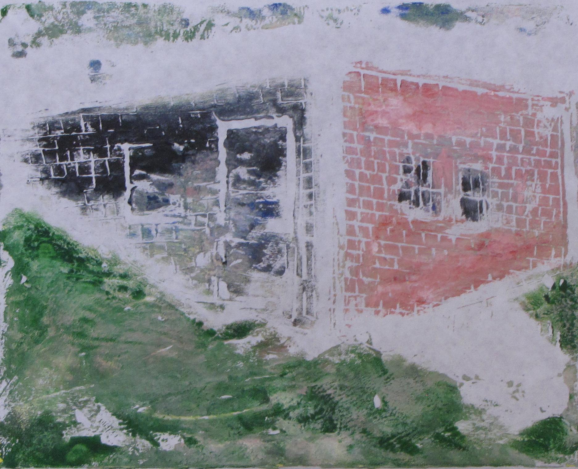 "Euphoria, June, High Noon, Russell Steven Powell acrylic on paper linoprint, 10""x8"""