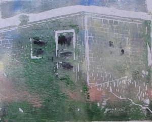 "Euphoria, June, 11 a.m., Russell Steven Powell acrylic on paper linoprint, 10""x8"""