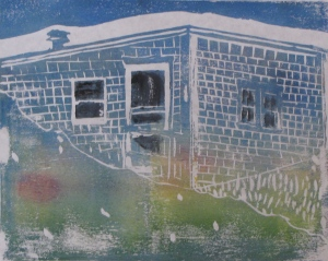 "Euphoria, June, 9 a.m., Russell Steven Powell acrylic on paper linoprint, 10""x8"""