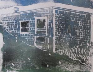 "Euphoria, June, 5 a.m., Russell Steven Powell acrylic on paper linoprint, 10""x8"""