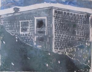 "Euphoria, June, 11 p.m., Russell Steven Powell acrylic on paper linoprint, 10""x8"""