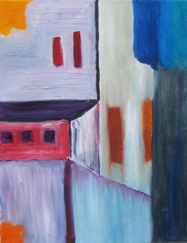 The Neighborhood, Russell Steven Powell oil on canvas, 11x14