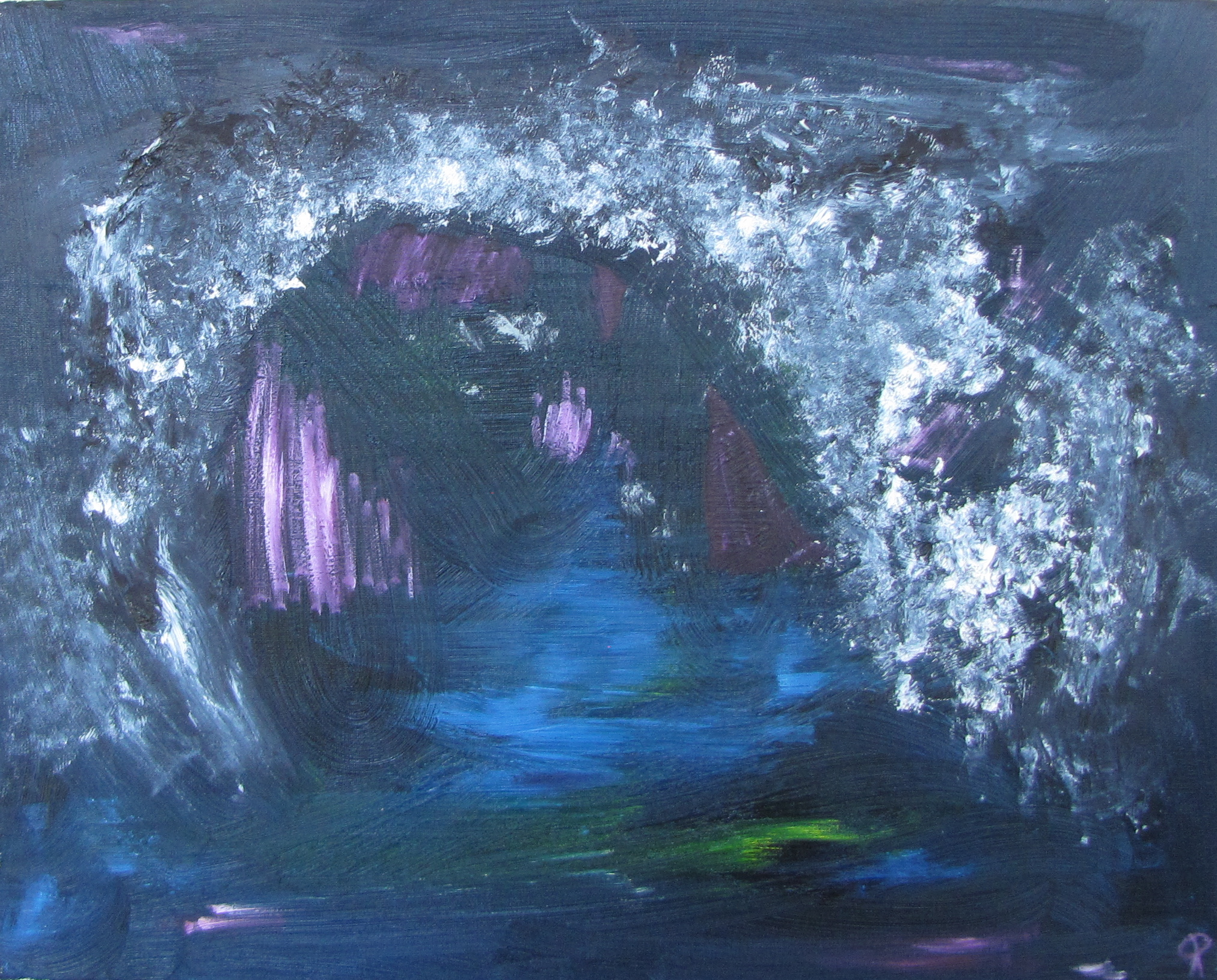 Underwater Lair, Russell Steven Powell oil on canvas, 20x16