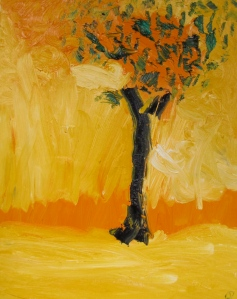 October Oak, 4 p.m., Russell Steven Powell oil on canvas, 16x20