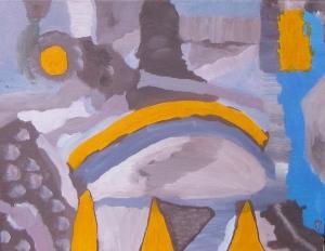 Supermoon, Dunes, Russell Steven Powell acrylic on canvas, 14x11