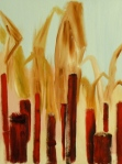 Flaming Corn, Russell Steven Powell oil on canvas, 18x24