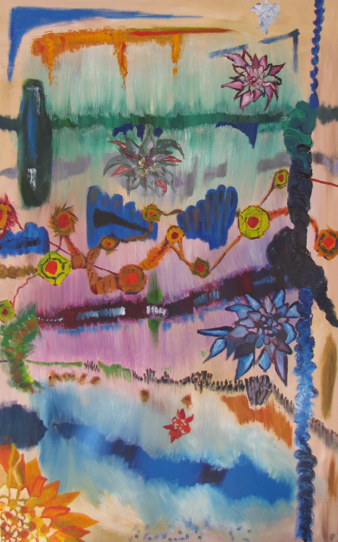 Bottle In Landscape I, Russell Steven Powell oil on canvas, 30x48