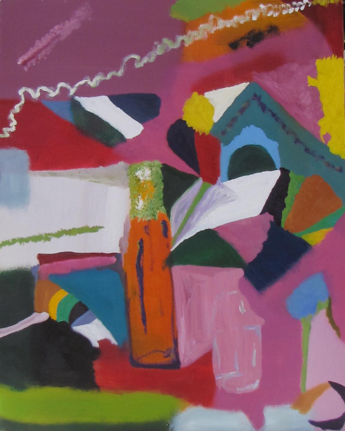 Bottle In Landscape II, Russell Steven Powell oil on canvas, 22x28