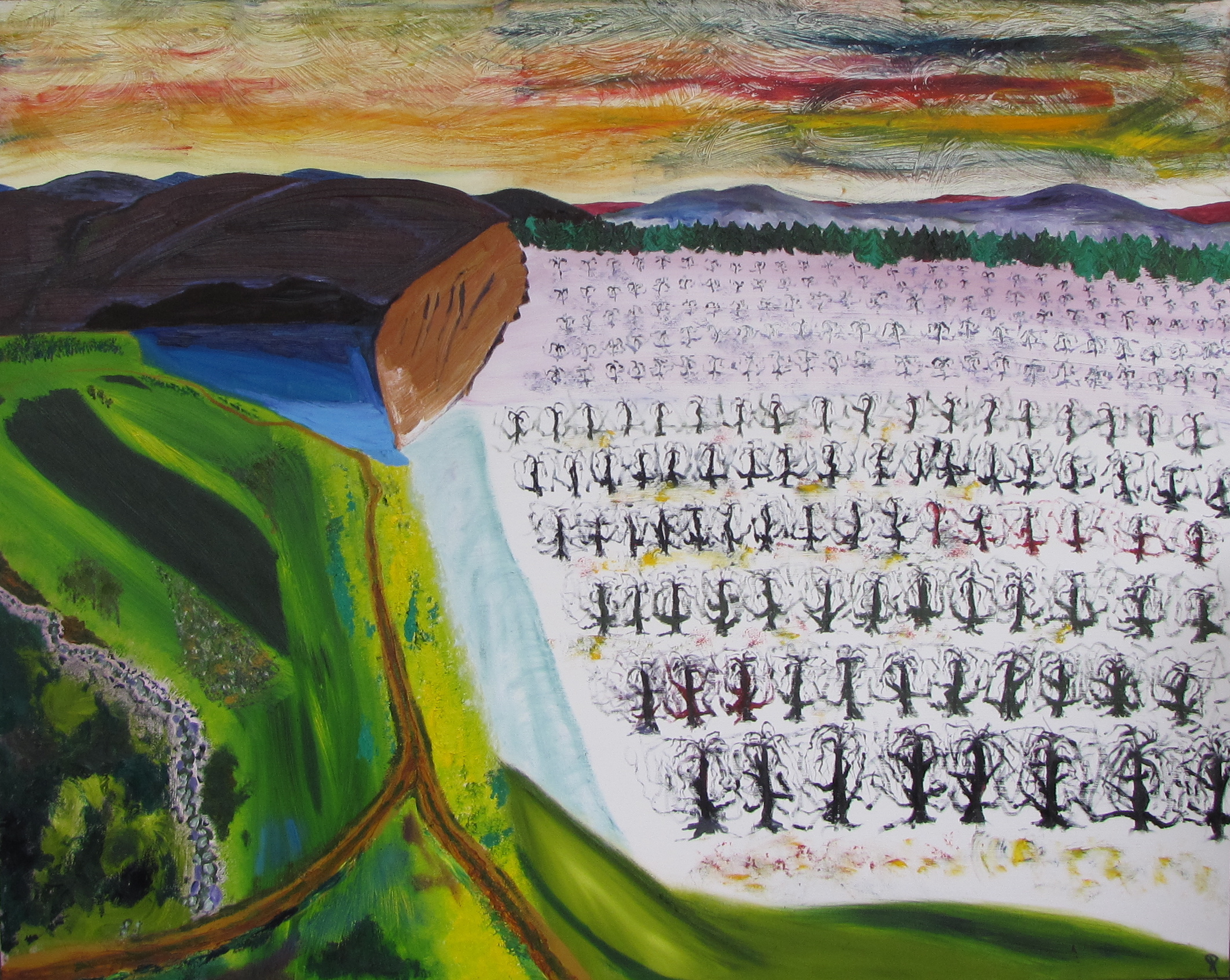 Orchard, November Dawn, Russell Steven Powell oil on canvas, 60x48