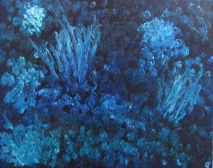 Night Garden, Russell Steven Powell oil on canvas, 20x16