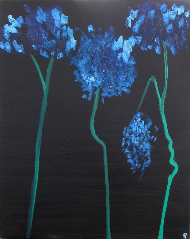 Blue Hydrangea, Russell Steven Powell oil on canvas, 24x30