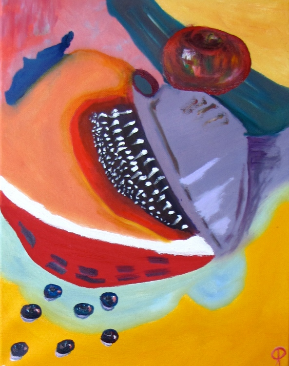 Still Life With Fruit, Russell Steven Powell oil on canvas, 11x14