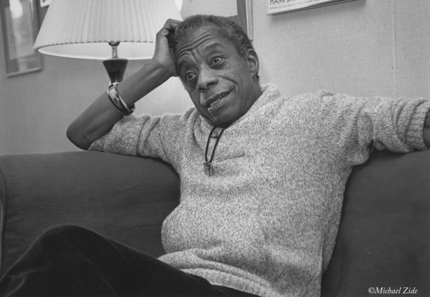 This photograph of James Baldwin in his Hampshire College apartment in October 1983 was one a series taken by Michael Zide to illustrate my interview. (michaelzide.com)
