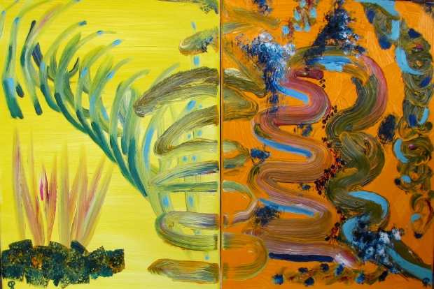 Seaweed I and II, Russell Steven Powell oil on canvas, diptych, 24x16