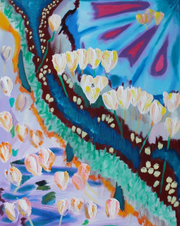 Flowerbank, Russell Steven Powell oil on canvas, 16x20